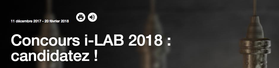 Candidatez au concours I-Lab 2018 !