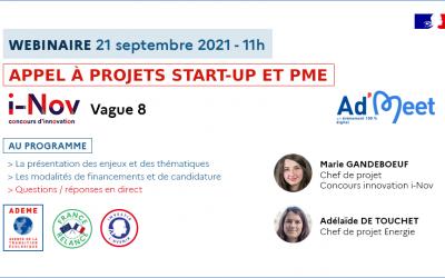 Webinaire ADEME – i-Nov vague 8 – AAP Start-up et PME
